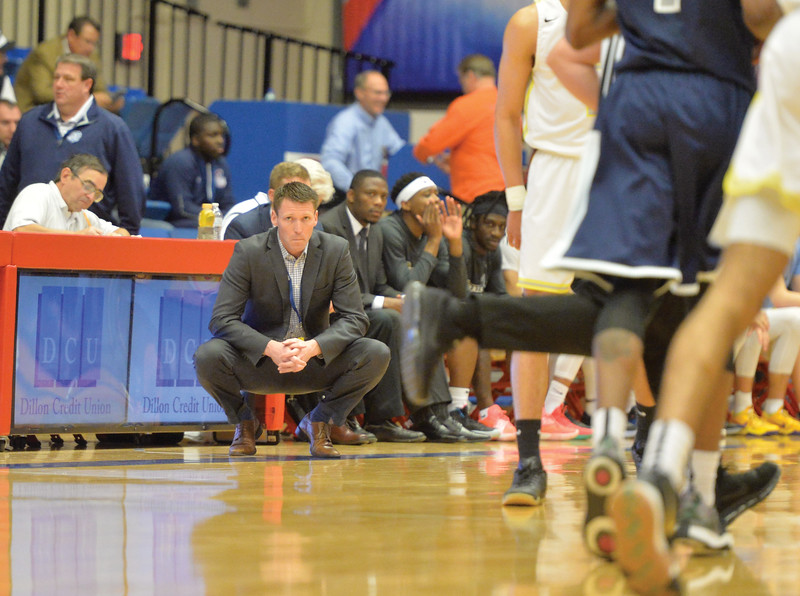 Bud Denega | The Sheridan Press<br /> Sheridan College head coach Matt Hammer looks on during the Generals' game against Kaskaskia College at the NJCAA tournament Monday, March 18, 2019.