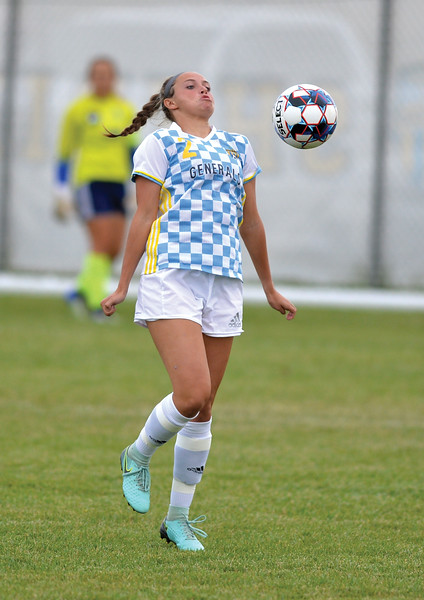 Bud Denega | The Sheridan Press<br /> Sheridan College's Madi Klein tries to control the ball during the Lady Generals' Region IX match against Laramie County Community College Saturday, Sept. 22, 2018. The Lady Golden Eagles edged the Lady Generals 1-0.