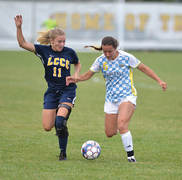 Bud Denega | The Sheridan Press<br /> Sheridan College's Elizabeth Pickett battles for the ball during the Lady Generals' Region IX match against Laramie County Community College Saturday, Sept. 22, 2018. Sheridan fell 1-0 to fall to 2-2 in Region IX play.