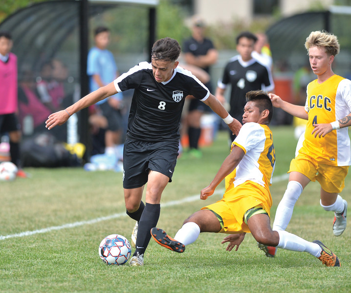 Bud Denega | The Sheridan Press<br /> Sheridan College's Nathan Beraldo Dos handles the ball under pressure during the Generals' Region IX match against Laramie County Community College Saturday, Sept. 22, 2018. Sheridan edged LCCC 1-0.
