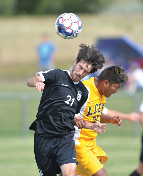 Bud Denega | The Sheridan Press<br /> Sheridan College's Luke Gluhosky heads a ball during the Generals' Region IX match against Laramie County Community College Saturday, Sept. 22, 2018. Gluhosky's 5th-minute goal was the difference in the Generals' 1-0 victory.