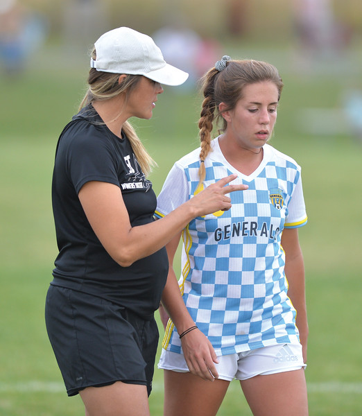 Bud Denega | The Sheridan Press<br /> Sheridan College's Kamryn Harrop talks with head coach Mallory Hammer during the Lady Generals' Region IX match against Laramie County Community College Saturday, Sept. 22, 2018. The Lady Golden Eagles edged the Lady Generals 1-0.