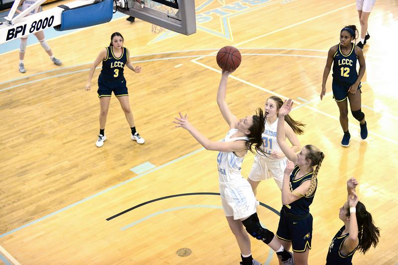Joel moline | The Sheridan Press<br /> Sheridan College's Madison Roush (24) scores a layup against Laramie County Community College Saturday, Jan. 18, 2020.