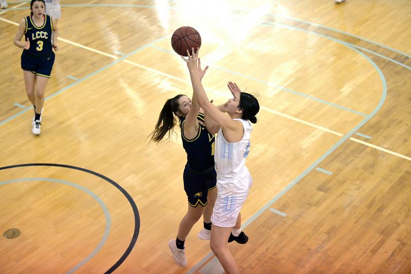 Joel moline | The Sheridan Press<br /> Sheridan College's Alexandria Troper (4) scores a layup as she is fouled against Laramie County Community College Saturday, Jan. 18, 2020.