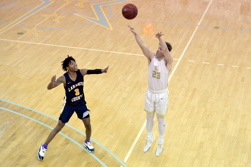 Joel Moline | The Sheridan Press<br /> Sheridan College's Tristan Bowers (23) makes a 3-pointer against Laramie County Community College Saturday, Jan. 18, 2020.