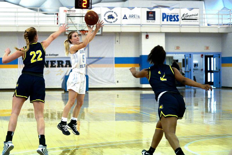 Joel Moline | The Sheridan Press<br /> Sheridan College's Hailey McDermott (5) attempts a 3-pointer against Laramie County Community College Saturday, Jan. 18, 2020.