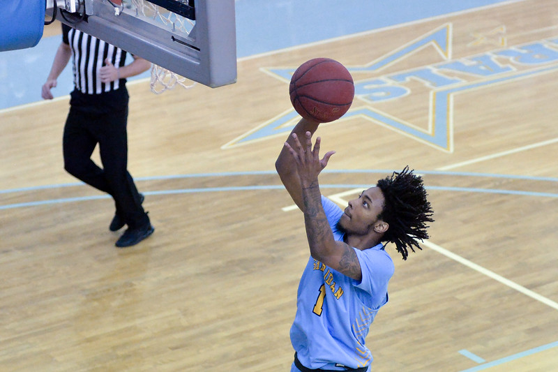 Joel Moline | The Sheridan Press<br /> Sheridan College's Marcus Stephens (1) scores a layup against Miles Community College Saturday, Dec. 7, 2019.