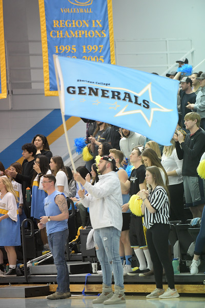 Matthew Gaston | The Sheridan Press<br>Sheridan College's student section was out in force during the North Platte Community College game for the Region IX tournament Friday, March 8, 2019.