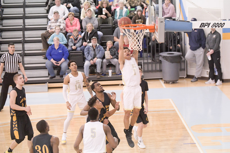 Matthew Gaston | The Sheridan Press<br>Sheridan College's Sean Sutherlin (1) dunks during the game against North Platte Community College Friday, March 8, 2019. The Generals won 95-88.