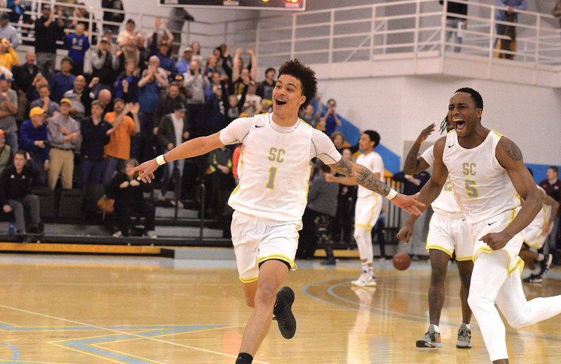 Bud Denega | The Sheridan Press<br /> Sheridan College's Sean Sutherlin celebrates after the Generals edged Northeastern Junior College 74-72 in the Region IX tournament quarterfinals inside the Bruce Hoffman Golden Dome Thursday, March 7, 2019.