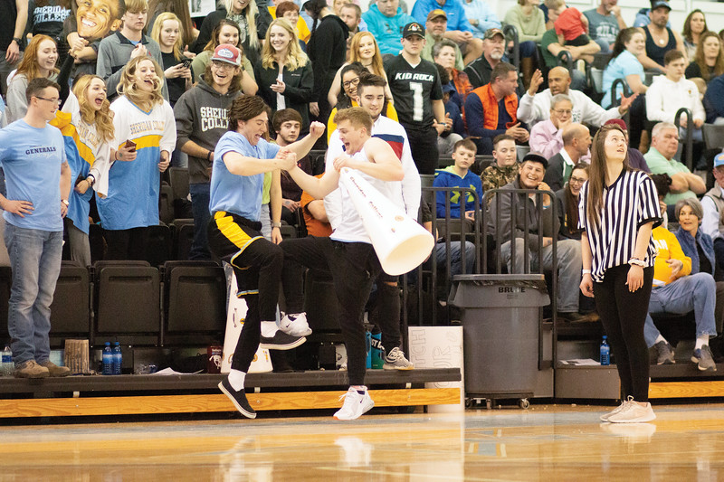 Matthew Gaston | The Sheridan Press<br>The Sheridan College student section was fired up for the Generals game against Northeastern Junior College Thursday, March 7, 2019.