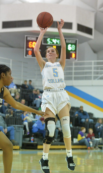 Bud Denega | The Sheridan Press<br /> Sheridan College's Darcy Walker rises for a shot during a game against Northeastern Junior College at the Bruce Hoffman Golden Dome Saturday, Jan. 5, 2019.