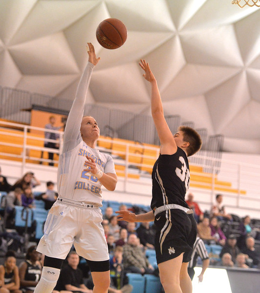 Bud Denega | The Sheridan Press<br /> Sheridan College's Noora Parttimaa rises for a shot during a game against Northeastern Junior College at the Bruce Hoffman Golden Dome Saturday, Jan. 5, 2019.