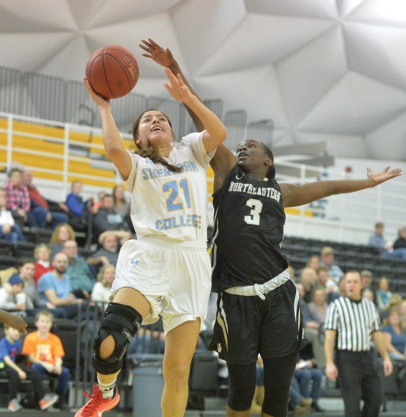 Bud Denega | The Sheridan Press<br /> Sheridan College's Aloma Solovi rises for a shot during a game against Northeastern Junior College at the Bruce Hoffman Golden Dome Saturday, Jan. 5, 2019.