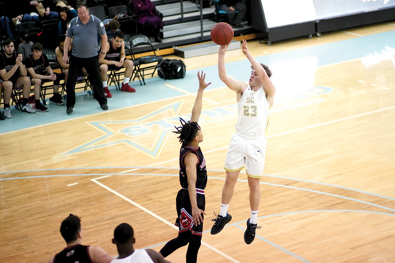 Matthew Gaston | The Sheridan Press<br>Sheridan College's Tristan Bower (23) pulls up to hit the fade away jumper against Northwest Wednesday, Feb. 19, 2020. The Generals won 94-82.