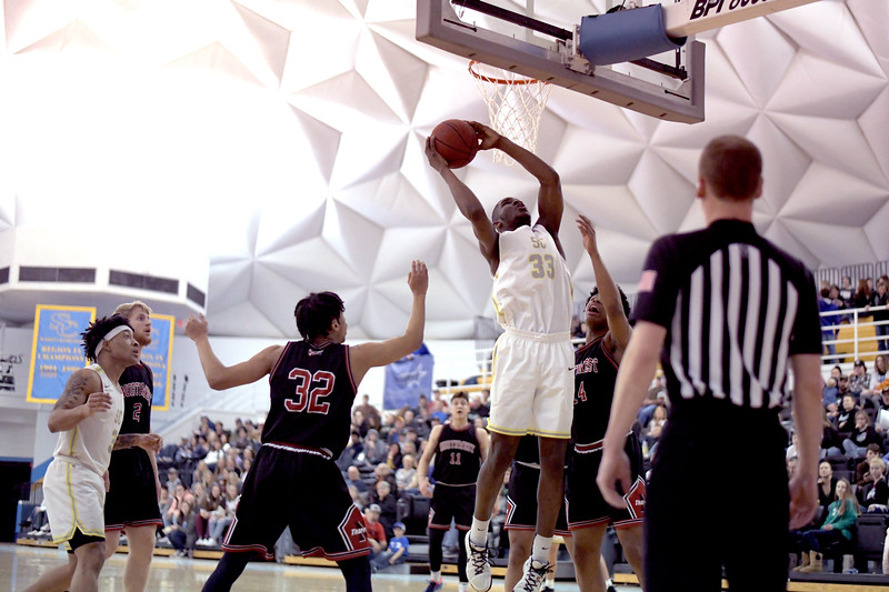 Matthew Gaston | The Sheridan Press<br>Sheridan College's Abdul Shanunu (33) scores from the post against Northwest Wednesday, Feb. 19, 2020. The Generals won 94-82.