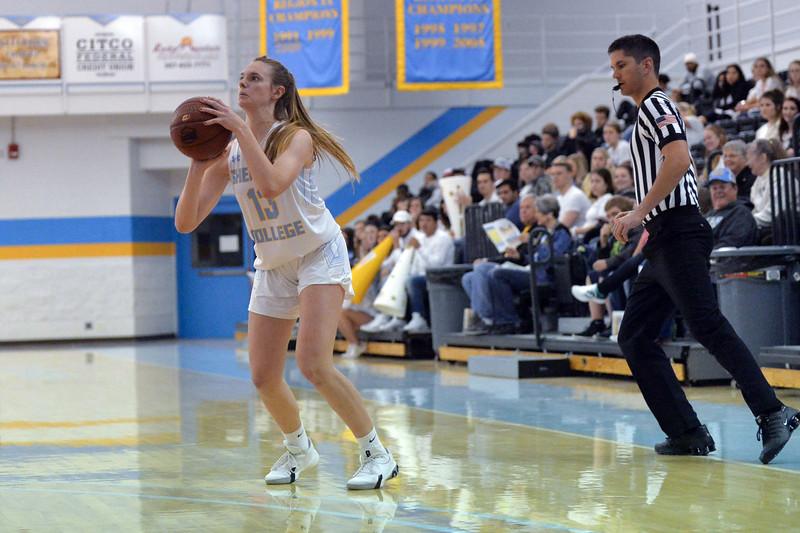 Joel Moline | The Sheridan Press<br /> Sheridan College's Julia Bartlett (13) lines up a 3-point shot against Western Nebraska Community College Tuesday, Nov. 5, 2019.