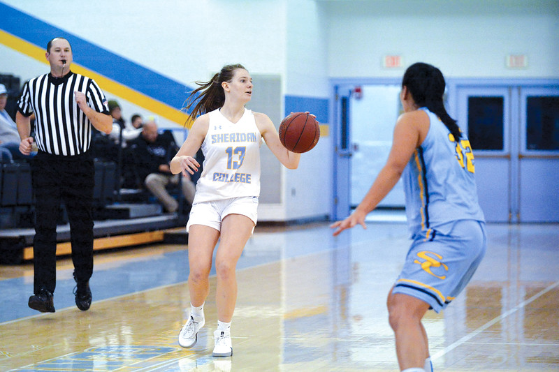 Joel Moline | The Sheridan Press<br /> Sheridan College's Julia Bartlett (13) advances the ball down the court against Wyoming All-Stars Saturday, Nov. 2, 2019.