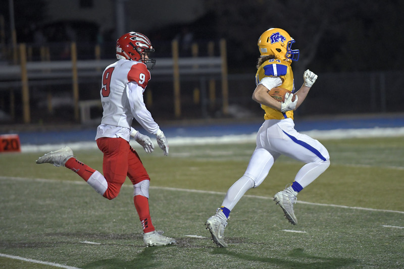 Joel Moline | The Sheridan Press<br /> Sheridan's Carter McComb (84) returns a kickoff to the one-yard line against Cheyenne Central Friday, Nov. 8, 2019.