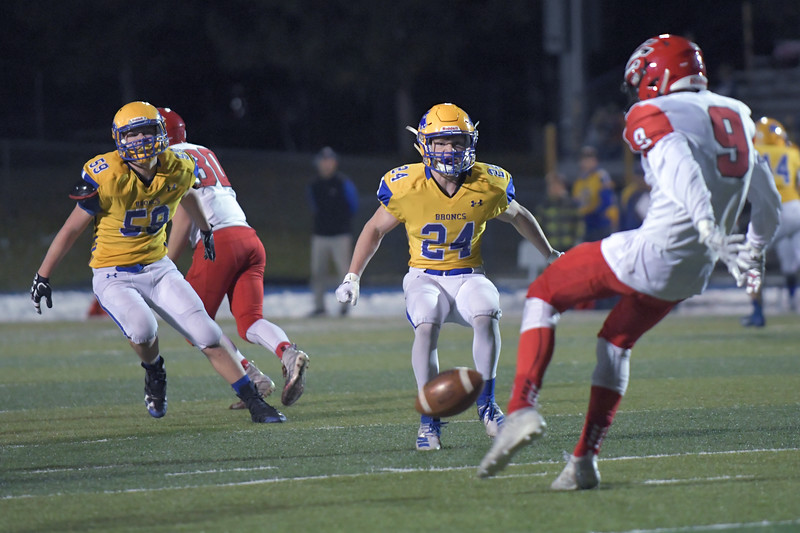 Joel Moline | The Sheridan Press<br /> Sheridan's Reese Osborne (24) makes sure the ball is punted away against Cheyenne Central Friday, Nov. 8, 2019.