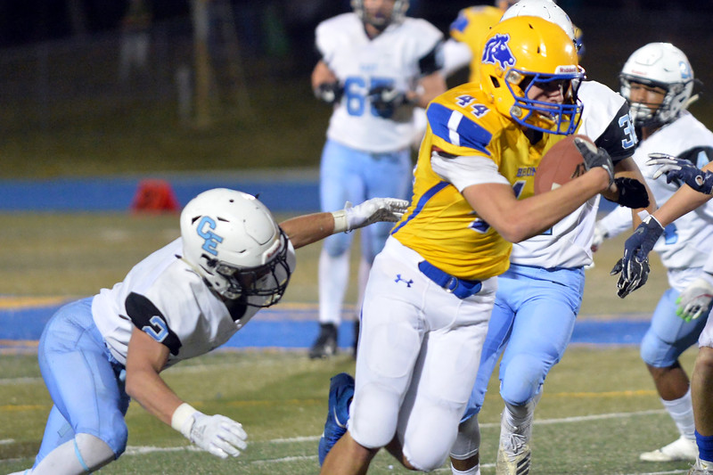 Joel Moline | The Sheridan Press<br /> Sheridan Kyle Meinecke (44) is tackled from behind aster catching a pass against East Friday, Oct. 24, 2019.