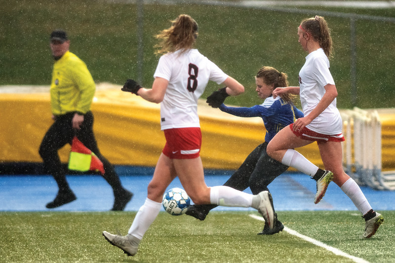 Matthew Gaston | The Sheridan Press<br>Sheridan's Aubrey Cooper (1) fires off a shot from outside the box against Cheyenne Central at Homer Scott Field Friday, April 26, 2019.