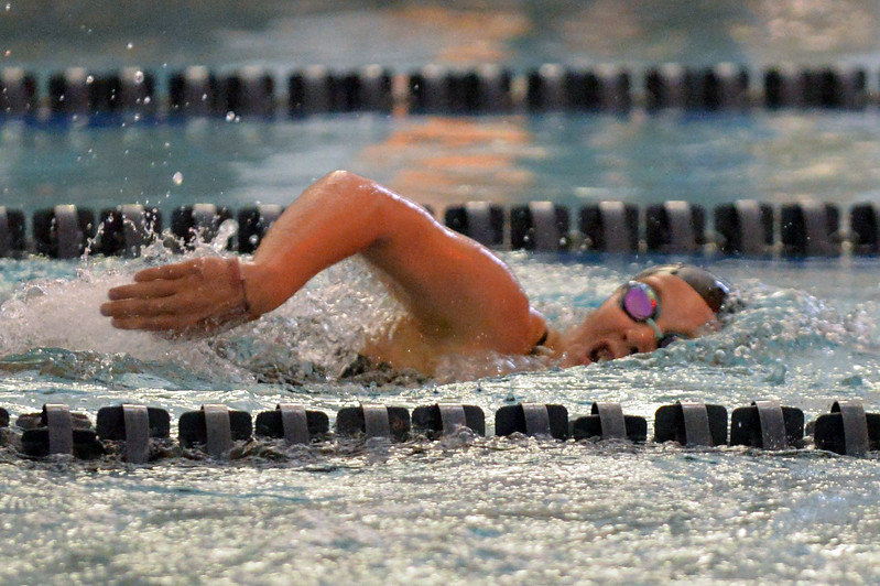 Joel Moline | The Sheridan Press<br /> Sheridan's Isabel Cleland takes a breath during the 200-meter freestyle race on Friday, Oct. 4, 2019.