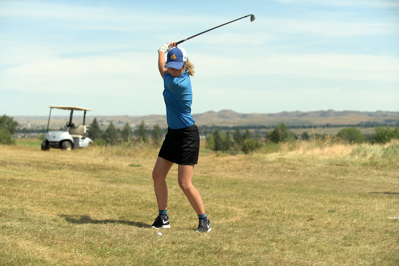 Matthew Gaston   The Sheridan Press<br>Sheridan's Katie Jorgenson successfully gets herself out of the rough during play at Kendrick Municipal Golf Course Thursday, Aug. 22, 2019.