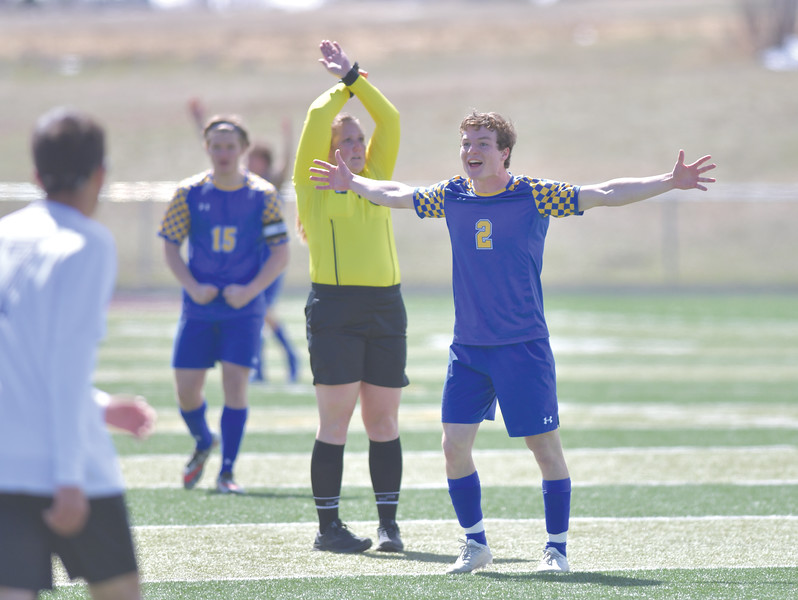 Ryan Patterson | The Sheridan Press<br /> Sheridan's Toby Jacobs celebrates his goal during a game against Cheyenne South at Big Horn High School Saturday, April 13, 2019. The Broncs won 2-1.