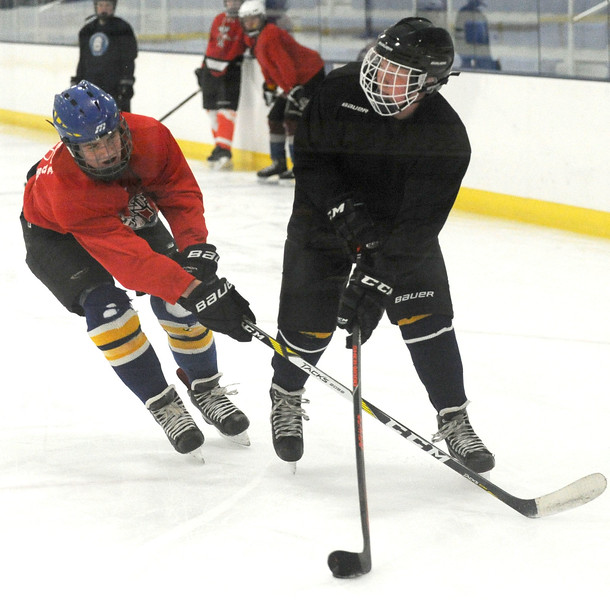 The Sheridan Hawks practiced at Whitney Rink at the M&M's Center on Monday night.