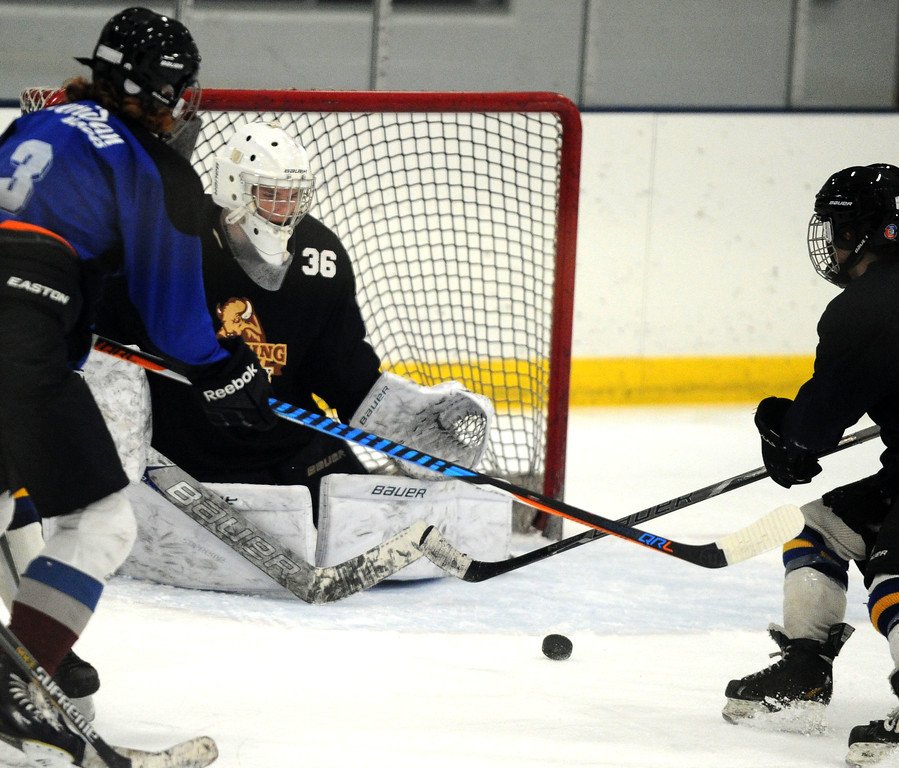 Sheridan goalie Josh Eaton practices at Whitney Rink at the M&M's Center on Monday night.