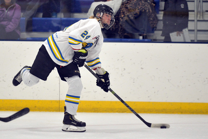 Joel Moline | The Sheridan Press<br /> Sheridan Hawks NA3HL team's Stepa Ruta (24) made his home ice debut against the Gillette Wild Saturday, Oct. 26, 2019.