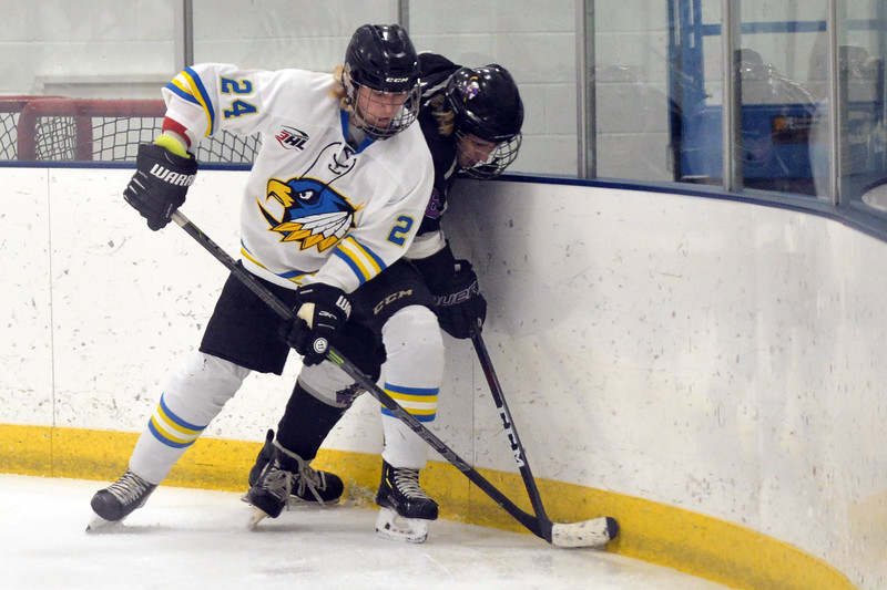 Joel Moline | The Sheridan Press<br /> Sheridan Hawks NA3HL team's Stepan Ruta (24) fights for possession of the puck along the boards against the Gillette Wild Saturday, Oct. 26, 2019.