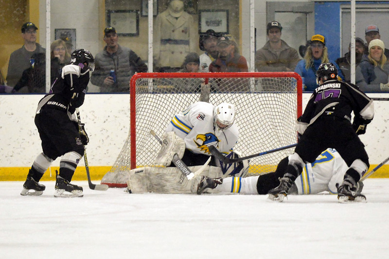 Joel Moline | The Sheridan Press<br /> Sheridan Hawks NA3HL team's James Downie (31) makes the save and covers up the puck against the Gillette Wild Saturday, Oct. 26, 2019.