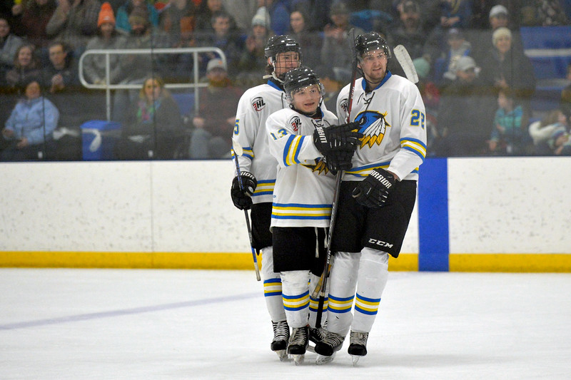 Joel Moline | The Sheridan Press<br /> Sheridan NA3HL Hawks players McCaffery Billings, Jonathon Teasdale and Steven Delikat celebrate a Teasdale goal against the Butte Cobras Saturday, Jan. 11, 2020.