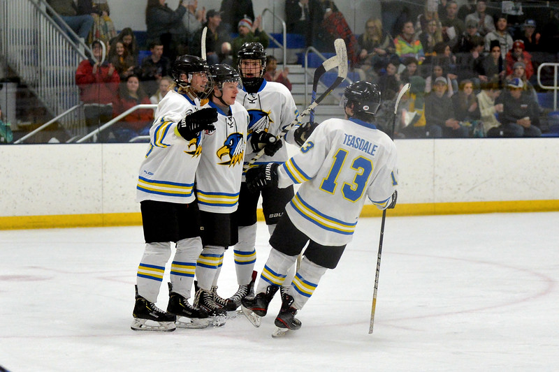 Joel Moline | The Sheridan Press<br /> Sheridan NA3HL Hawks players Stpean Ruta, Kolton Wright, McCaffery Billinings and Jonathan Teasdale celebrate a goal against the Butte Cobras Saturday, Jan. 11, 2020.