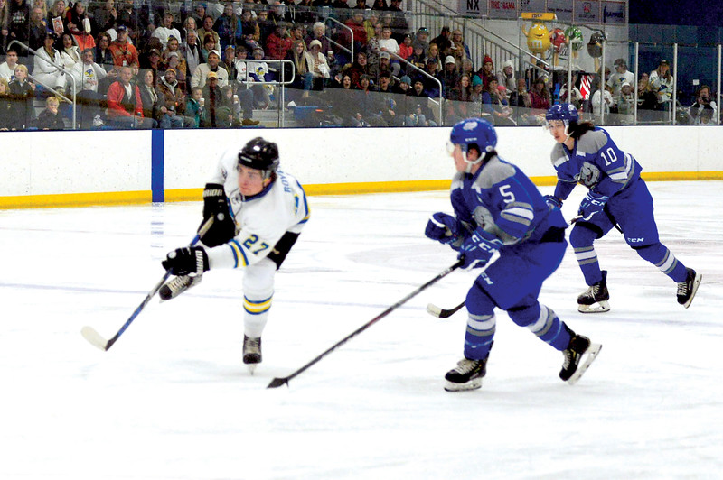 Joel Moline | The Sheridan Press<br /> Sheridan NA3HL Hawks player Jack Royer (27) takes a shot on goal against the Helena Bighorns Saturday, Nov. 2, 2019.