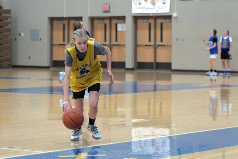 Joel Moline | The Sheridan Press<br /> Ellen Brown drives to the basket in a layup drill during practice Monday, Nov. 25, 2019.