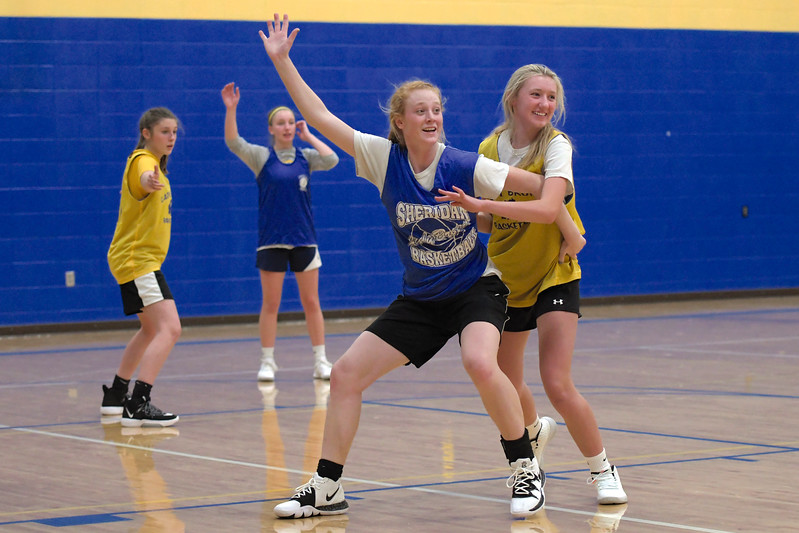 Joel Moline | The Sheridan Press<br /> Libby Gardner calls for the ball in the post while Ella Laird plays defense during practice Nov. 25, 2019.