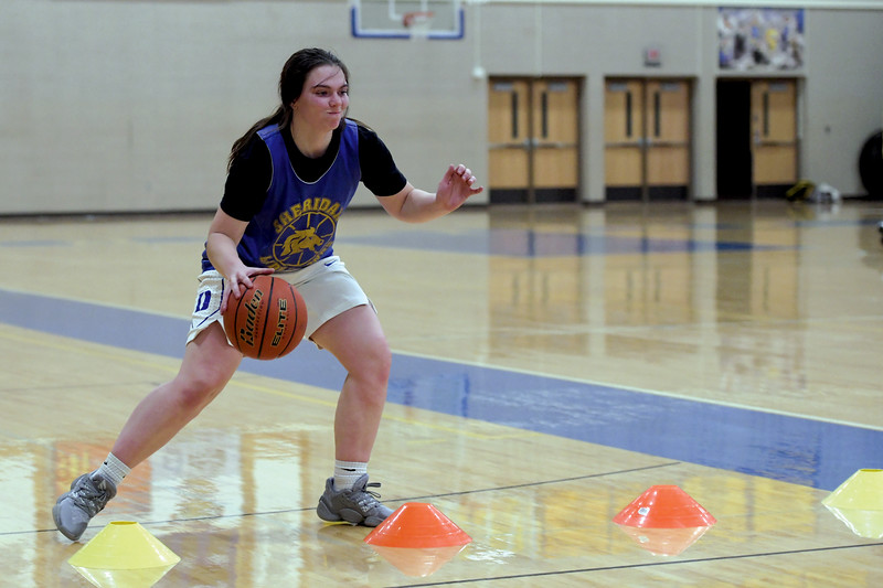 Joel Moline | The Sheridan Press<br /> Aniston Beard participates in a ball handling drill during practice Monday, Nov. 25, 2019.