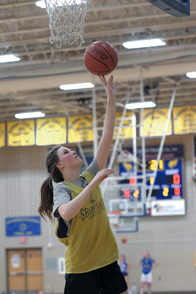Joel Moline | The Sheridan Press<br /> Brook Larson takes her turn in a layup drill during practice Monday, Nov. 25, 2019.