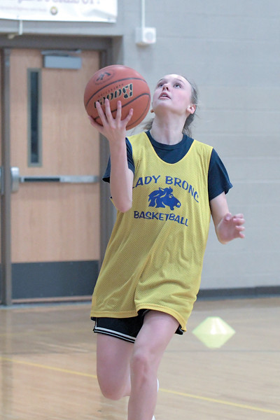 Joel Moline | The Sheridan Press<br /> Bree Aksmit shoots a layup to complete a drill during practice Monday, Nov. 25, 2019.