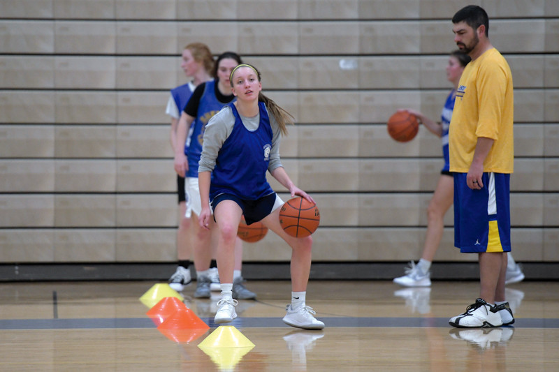 Joel Moline | The Sheridan Press<br /> Annie Mitzel dribbles between her legs in a ball handling drill during practice Monday, Nov. 25, 2019.