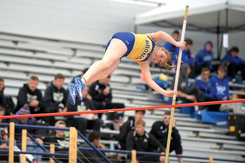 Matthew Gaston | The Sheridan Press<br>Sheridan's Alicia Thoney easily clears the bar during the pole vault at Sheridan High School's Benson Invitational Tuesday, April 16, 2019.