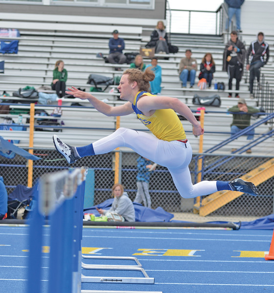 Bud Denega | The Sheridan Press<br /> Sheridan's Alec Riegert competes in the 110-meter hurdles during the Gary Benson Invite at Homer Scott Field Tuesday, April 16, 2019.
