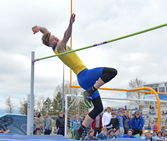 Bud Denega | The Sheridan Press<br /> Sheridan's Gus Wright competes in the high jump during the Gary Benson Invite at Homer Scott Field Tuesday, April 16, 2019.