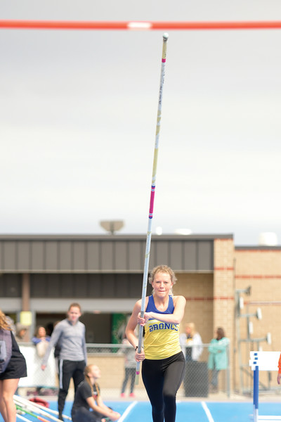 Matthew Gaston | The Sheridan Press<br>Sheridan's Anna Switzeburg makes her approach during the pole vault Tuesday, April 16, 2019.