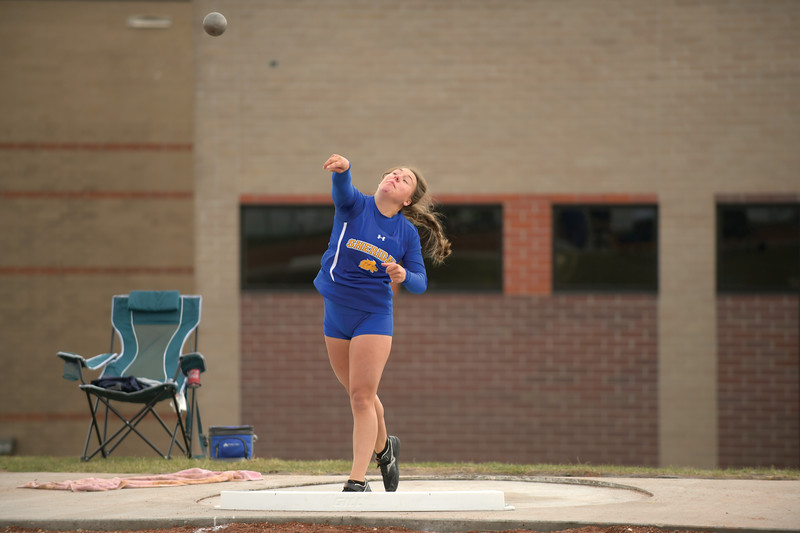 Matthew Gaston | The Sheridan Press<br>Sheridan's Taylor Lee competes in the shot put Tuesday, April 16, 2019.