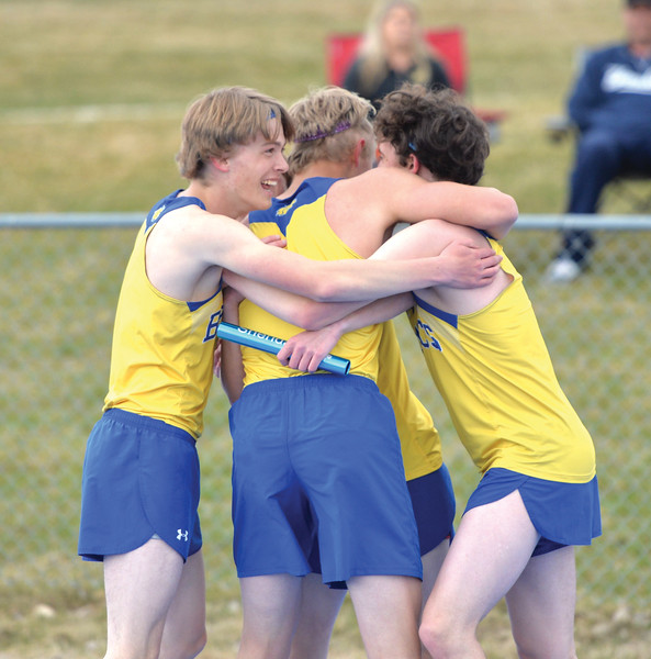 Bud Denega | The Sheridan Press<br /> Sheridan's 3,200-meter relay team celebrates during the Gary Benson Invite at Homer Scott Field Tuesday, April 16, 2019.