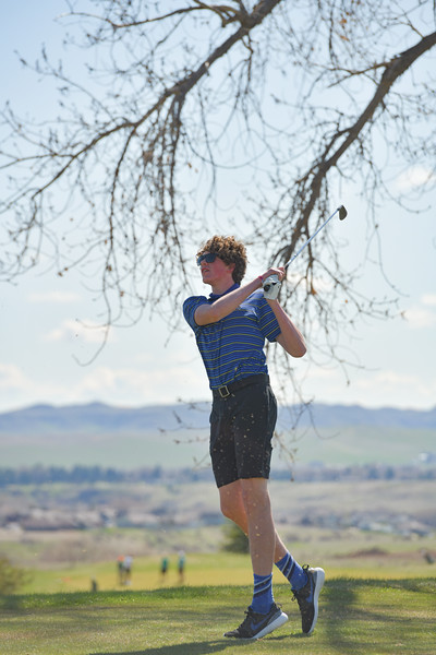 Matthew Gaston | The Sheridan Press<br>Sheridan's Sam Lecholat tees off during a golf tournament at Kendrick Municipal Golf Course Friday, May 3, 2019.